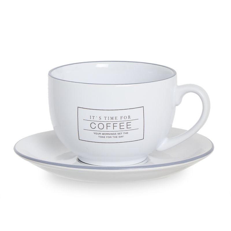 Taza Desayuno Con Plato Coffee Blanco 19 cm