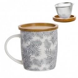 Taza Tisana Ceramica con Filtro Metalico Hojas 350 ml 10 cm