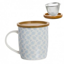 Taza Tisana Ceramica con Filtro Metalico Mediterraneo 10 cm