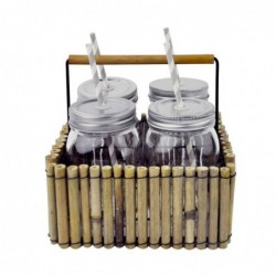 Vaso Bebidas Jason Juego 4 Unidades con Bandeja Bambú