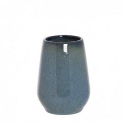 Vaso Porta Utensilios de Baño Azul Ceramica 9 cm