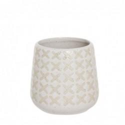 Vaso Porta Utensilios de Baño Blanco Ceramica 9 cm