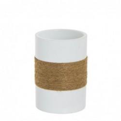 Vaso Porta Utensilios de Baño Blanco Resina 9 cm
