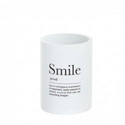 Vaso Porta Utensilios de Baño Smile blanco 10 cm