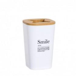 Vaso Porta Utensilios de Baño Smile blanco 11 cm