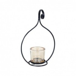 Candelabro Metalico Negro 1 Vaso 23 cm