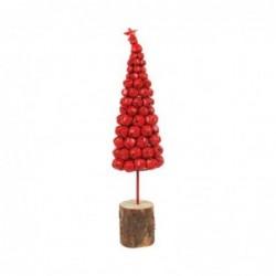 Figura Decorativa Arbol Campanas Metal Rojo 43 cm
