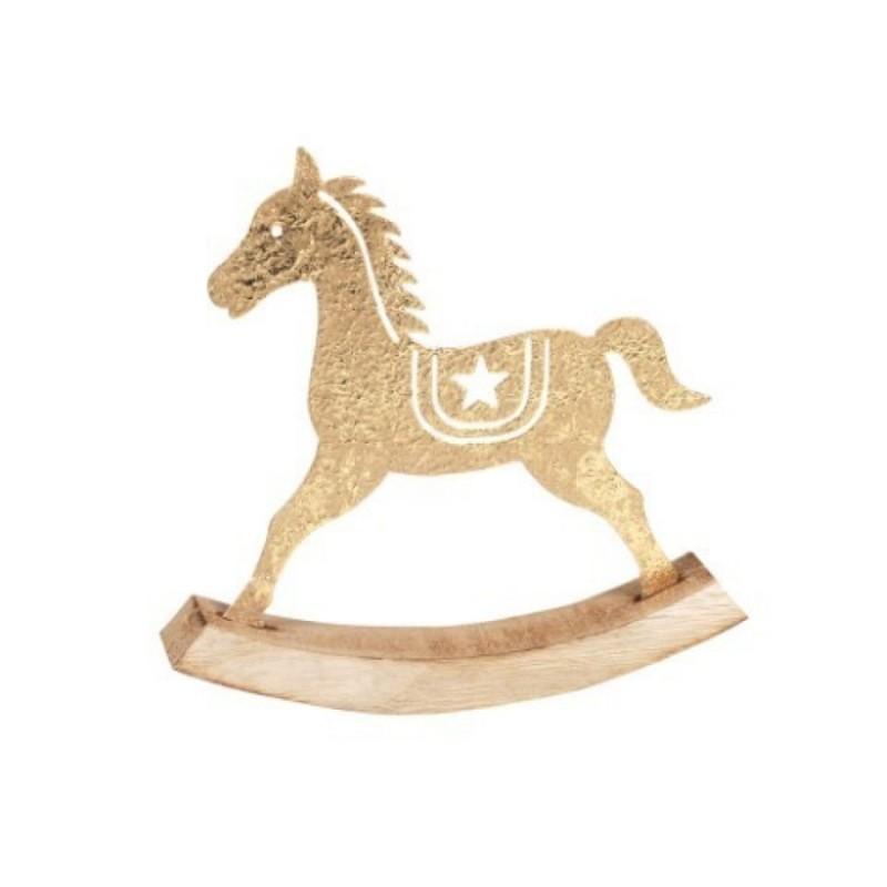 Figura Decorativa Caballo Basculante Metal Dorado 16 cm