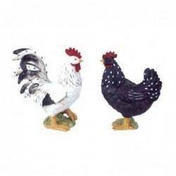 Figura Decorativa Gallo y Gallina Resina 20 cm