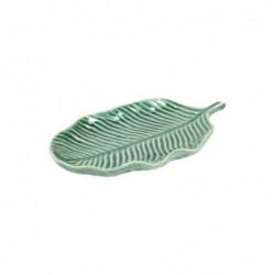 Figura Decorativa Hoja Verde Ceramica 27 cm