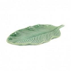 Figura Decorativa Hoja Verde Ceramica 37 cm
