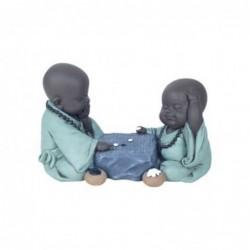Figura Decorativa Monjes Budistas Resina 18 cm