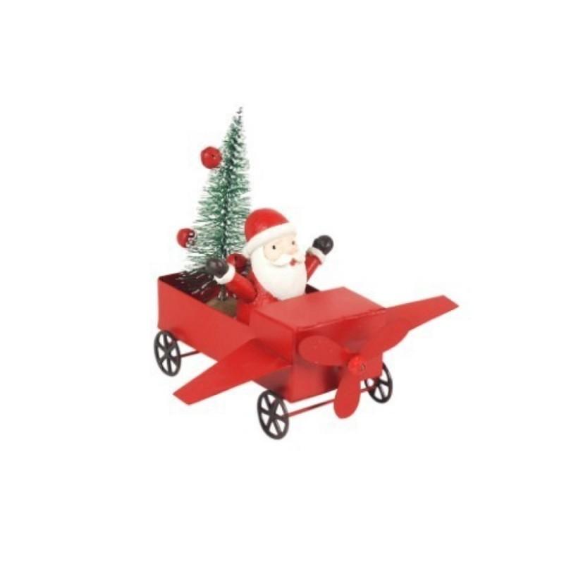 Figura Decorativa Navidad Santa Klaus Avion Metal 12 cm