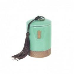 Jarron Decorativo Ceramica Verde con Tapa 12 cm