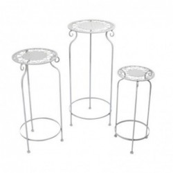 Mesa Pedestal Set 3 Unidades Blancas 70 cm
