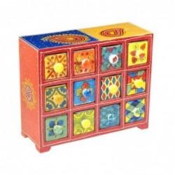 Mueble Especiero 12 Cajones Madera y Ceramica Colores 27 cm