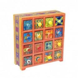 Mueble Especiero 16 Cajones Madera y Ceramica Colores 29 cm