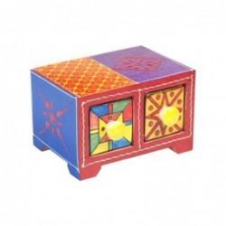 Mueble Especiero 2 Cajones Madera y Ceramica Colores 14 cm