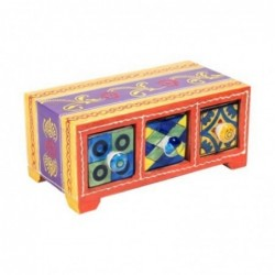 Mueble Especiero 3 Cajones Madera y Ceramica Colores 20 cm