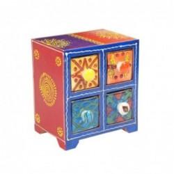 Mueble Especiero 4 Cajones Madera y Ceramica Colores 16 cm