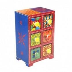 Mueble Especiero 6 Cajones Madera y Ceramica Colores 22 cm