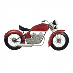 Adorno de Pared Metalico Moto Retro Roja 100 cm