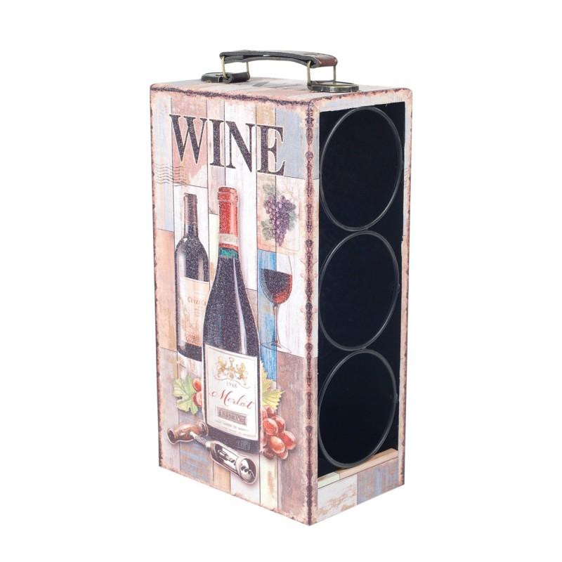 Botellero 3 Botellas de Vino Madera 33 cm