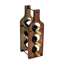 Botellero Madera y Metal Botella de Vino 47 cm