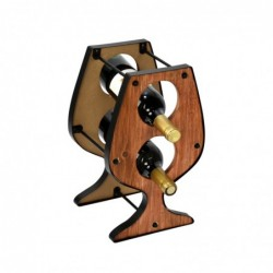 Botellero Madera y Metal Copa de Vino 34 cm