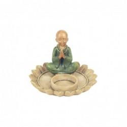 Candelabro Figura Decorativa Caja Monje Budista Resina 12 cm