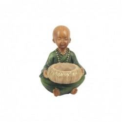 Candelabro Figura Decorativa Caja Monje Budista Resina 13 cm