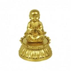Figura Decorativa Caja Monje Budista Resina 15 cm