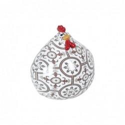 Figura Decorativa Gallina Resina Blanca 11 cm