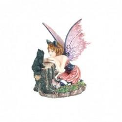 Figura Decorativa Hada con Gato Resina 14 cm