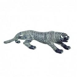 Figura Decorativa Leopardo Resina Gris 55 cm