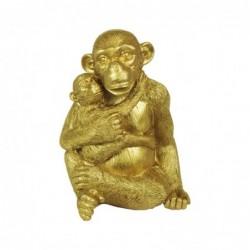 Figura Decorativa Orangutan Resina Dorado 20 cm