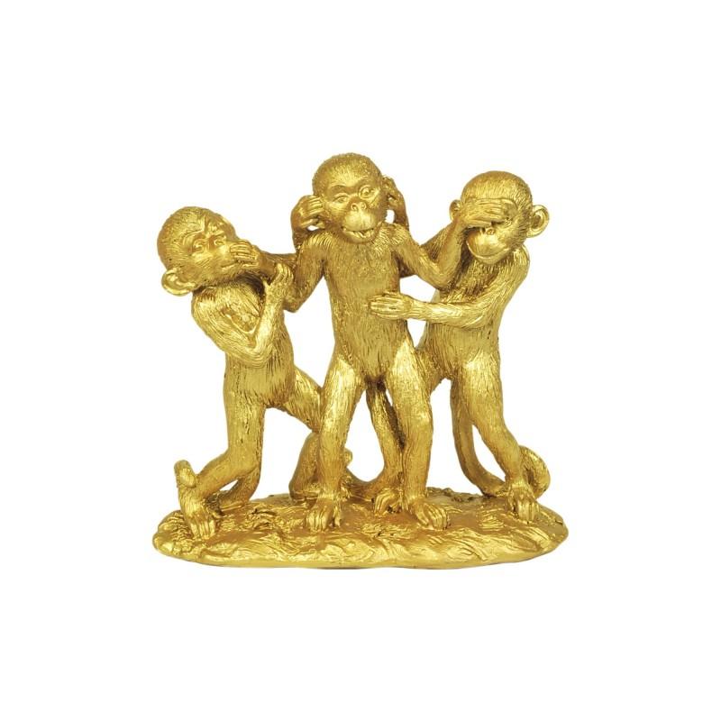 Figura Decorativa Resina 3 Monos Dorados 15 cm