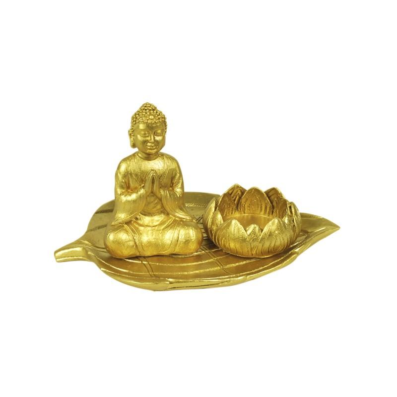Figura Decorativa Resina Buda Dorado 18 cm