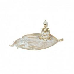 Figura Decorativa Resina Buda Hoja 26 cm