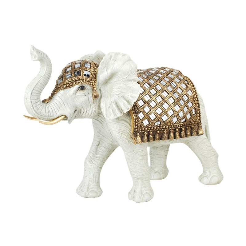 Figura Decorativa Resina Elefante Blanco 34 cm