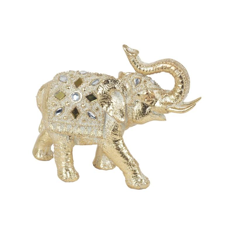 Figura Decorativa Resina Elefante Dorado 16 cm
