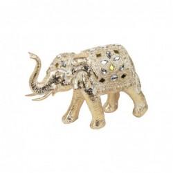 Figura Decorativa Resina Elefante Dorado 22 cm