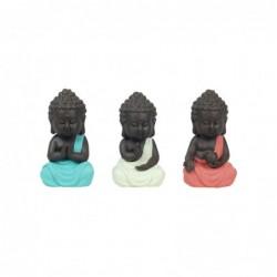 Figura Decorativa Resina x3 Buda 15 cm