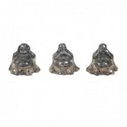 Figura Decorativa Resina x3 Buda Bronce 7 cm