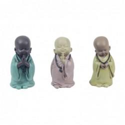 Figura Decorativa x3 Monje Budista Resina 12 cm