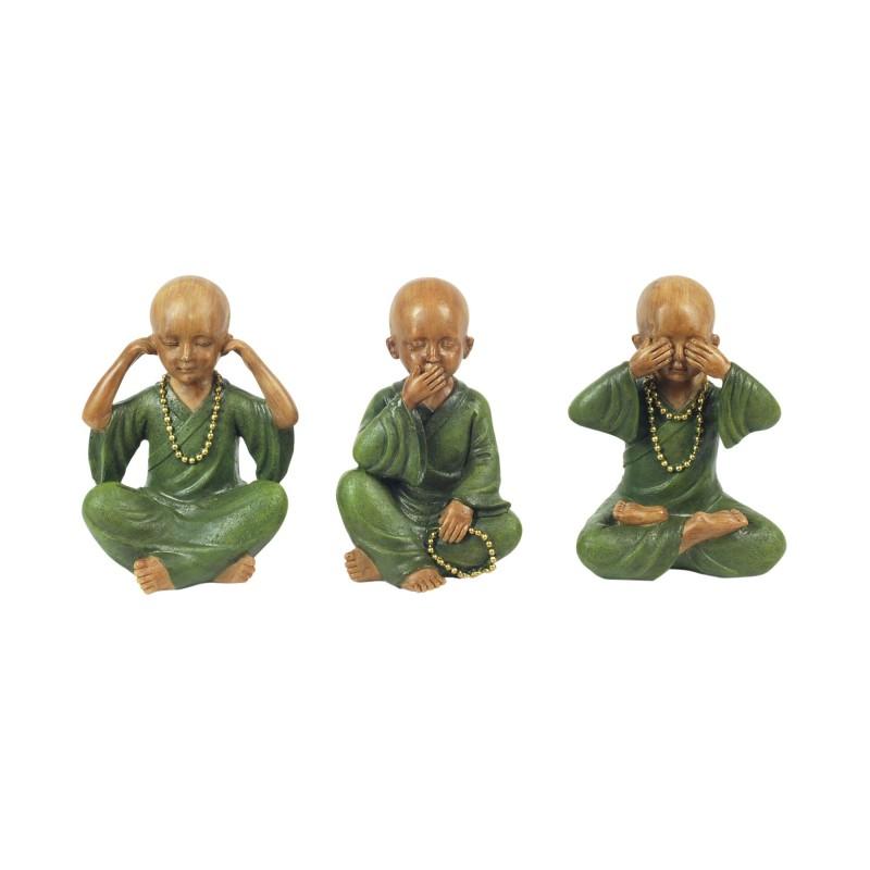 Figura Decorativa x3 Monje Budista Resina 13 cm