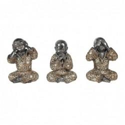 Figura Decorativa x3 Monje Budista Resina 14 cm