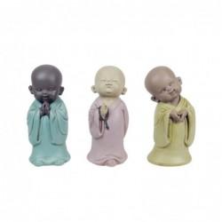 Figura Decorativa x3 Monje Budista Resina 17 cm