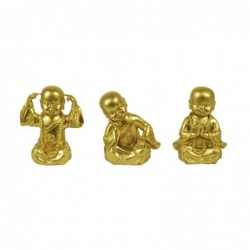 Figura Decorativa x3 Monje Budista Resina Dorados 8 cm