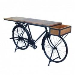 Mesa Entrada Bicicleta Retro Madera y Metal 184 cm